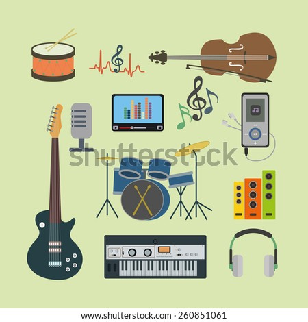 Flat icons music set  - stock photo