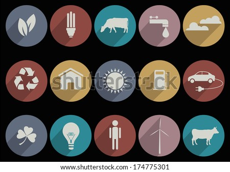 Flat Icons of web and mobile applications for ecology theme. Raster version - stock photo
