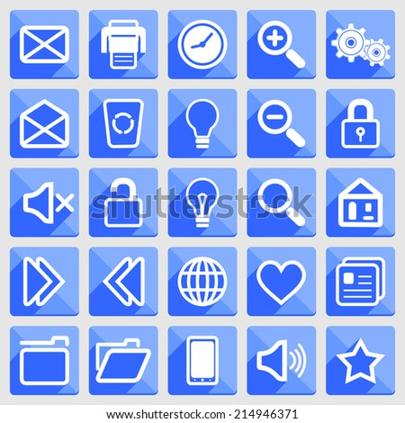 Flat icons with long shadows: white on blue. Raster version. - stock photo