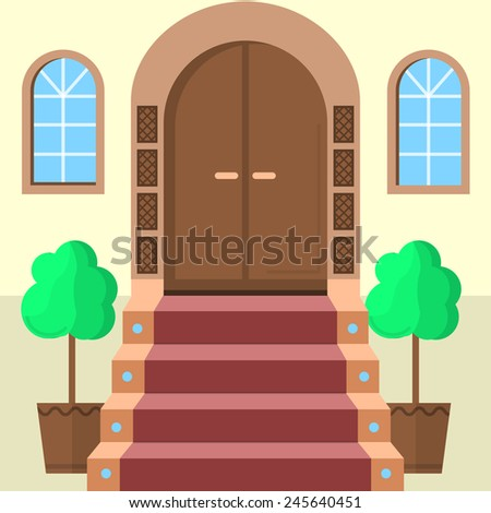 Flat illustration of facade doors with stairs. Brown wooden arch door with symmetry two windows, stairs with red carpet and two symmetry decorative trees. Flat design illustration for building - stock photo