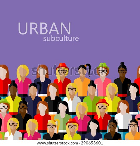 flat  illustration of female community with a large group of girls and women. urban subculture concept