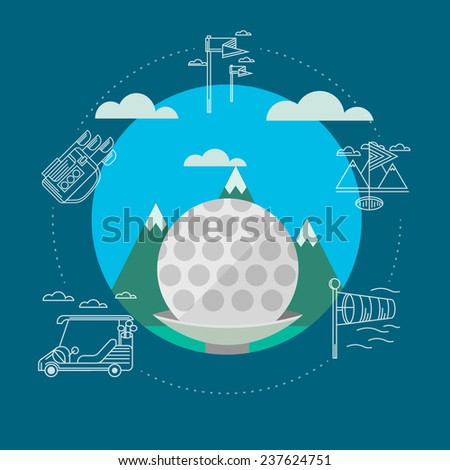 Flat illustration of golf. Golf ball on a background of green mountains and blue sky. Circle flat illustration with white contour sign of golf elements and clouds around on blue background. - stock photo