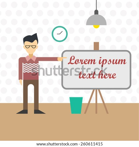 Flat illustration of man near the board lamp and clock in room, business teacher - stock photo
