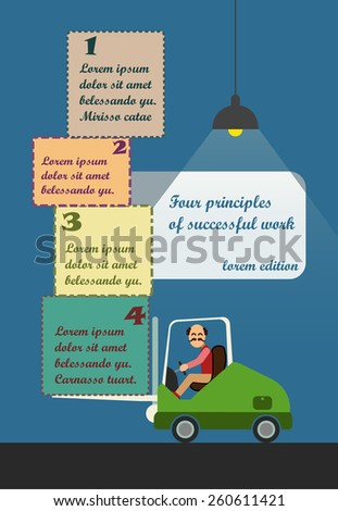 Flat illustration of man on forklift and four boxes on it, simple infographic for storage workers or companies - stock photo