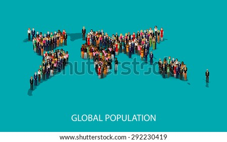 flat illustration of people standing on the world global map shape. infographic global population concept - stock photo