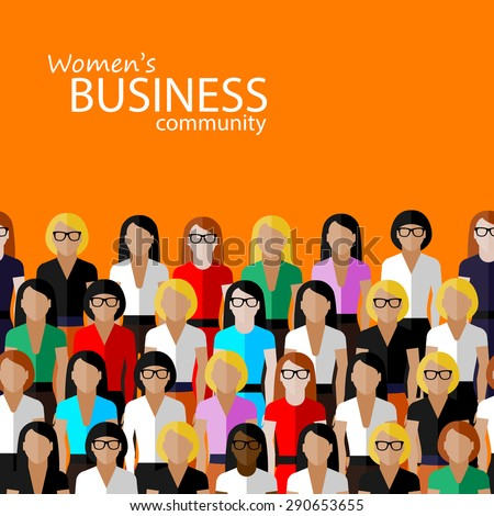 flat  illustration of women business community. a large group of women (business women or politicians).  summit or conference family image