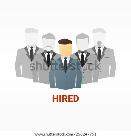flat image of business people. Hiring competition concept - stock photo