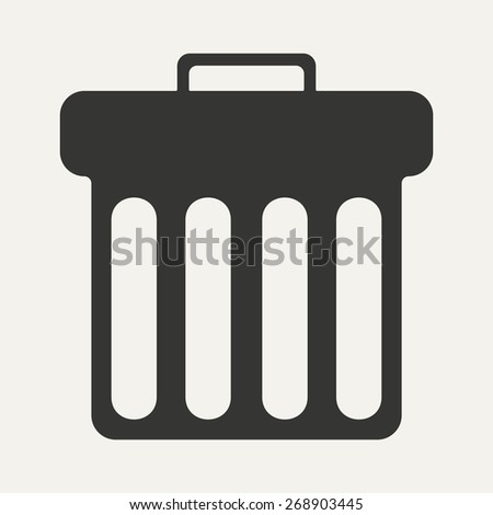 Flat in black and white mobile application waste basket  - stock photo