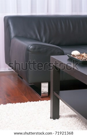 Flat interior decorative design, comfortable furnishings. - stock photo