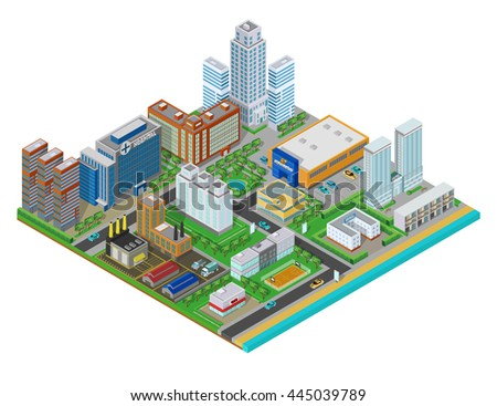 Flat isometric urban city real estate background with buildings, shops, trees and roads on the plane.