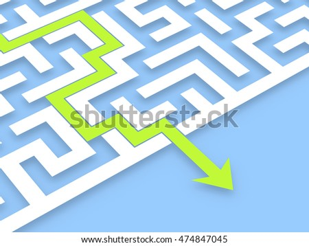 Flat labyrinth on blue background. Computer generated image.