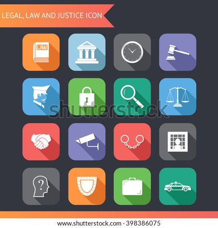 Flat Law Legal Justice Icons and symbols Illustration