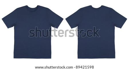 Flat Lay Down Isolated Image of T-Shirt Front and Back View - stock photo