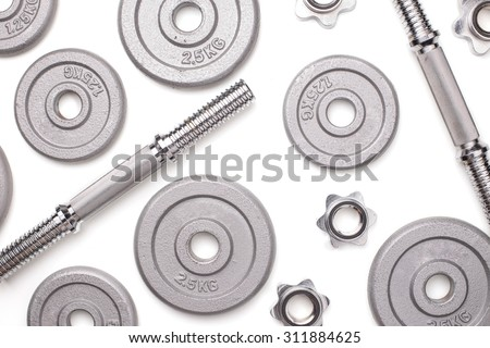 Flat lay dumbell on isolated white background.