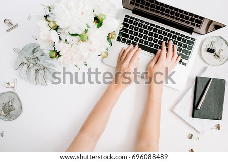 white home offices workspace laptop girls hands notebook sketchbook stock photo