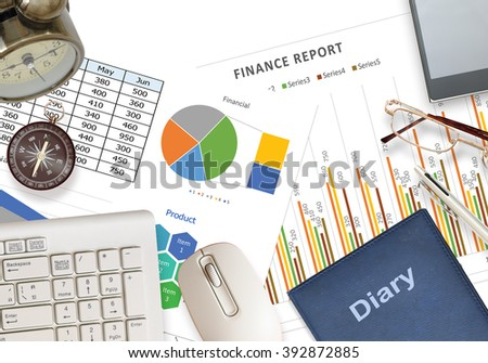 Flat lay image of business with mobile phone glasses and pen on white desk