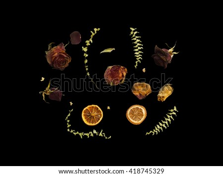 Flat lay image of dry roses, orange slices and fern branches. Dry plants isolated on black. Trendy top view image with dry flowers, branches and fruits. Contrast red green and orange on black. - stock photo