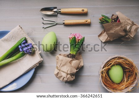 flat lay of Easter and spring preparations. Hyacinth, eggs and garden tools on table, top view. Selective focus, cozy home interior. - stock photo