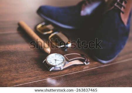 Flat lay shot of Men fashion. Men accessories. Men shoes, watch, cigar and sunglasses. Still life. Business look. - stock photo