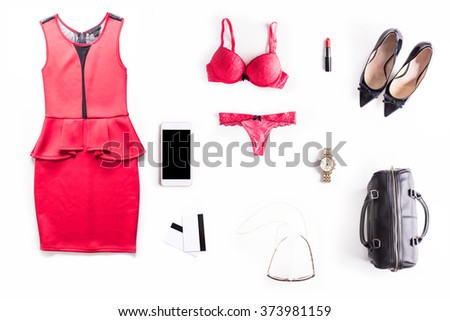 Flat lay shot of Sexy Date Night accessories for woman. Dressed for the perfect man. - stock photo