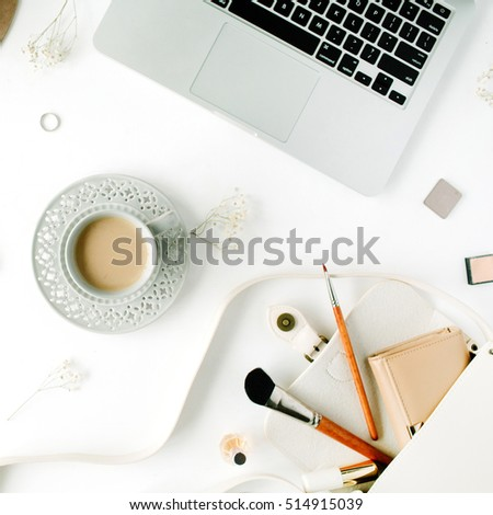 Trendy Office Accessories Flat Lay Trendy Feminine Home Office Stock Photo  548515108 Part 66