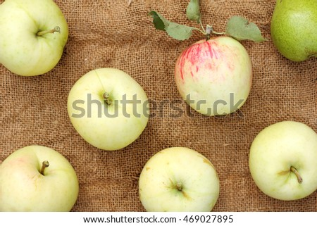 flat layout of fruit lying on the rough cloth top view / ripe harvest of apples and pears