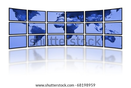 Flat LCD screens displaying the world earth map. Television technology. - stock photo