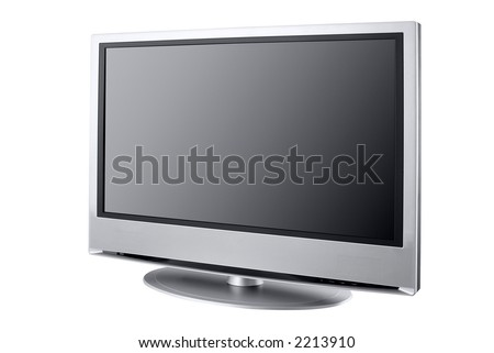 flat LCD television isolated on white, - stock photo