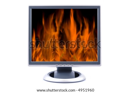Flat LCD TV displaying fire isolated on white - stock photo