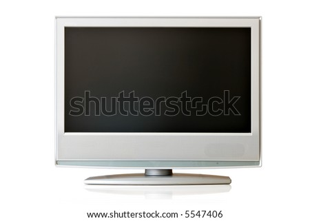 Flat LCD TV isolated over white background - stock photo