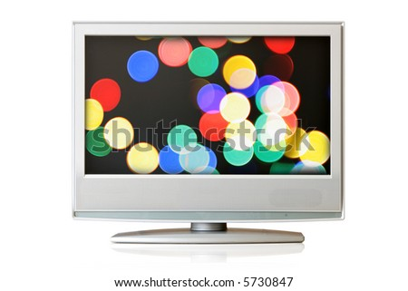 Flat LCD TV isolated with colorful christmas lights no screen - stock photo