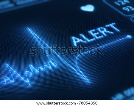 Flat line alert on a heart monitor - 3d render on detail pixelated screen - stock photo