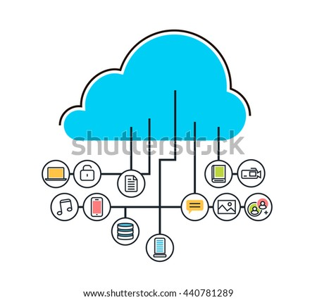 Flat line modern simple design illustration concept of saving cloud  service with icons background for website blog banner and landing page.  Infographic icon elements