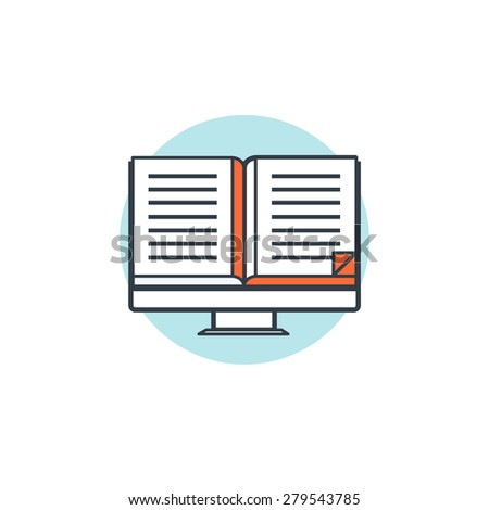 Flat lined e-learning background with computer and book. - stock photo