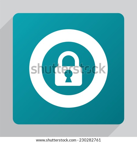 flat lock icon, white on green background