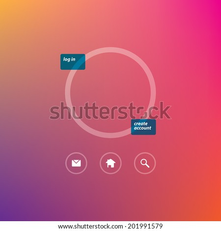 Flat Login Template and web icons - stock photo