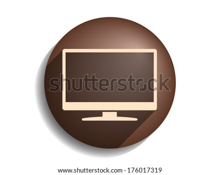Flat long shadow icon of monitor