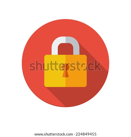 Flat long shadow lock icon isolated on white background - stock photo