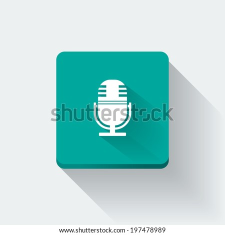 Flat long shadow microphone icon (raster illustration)