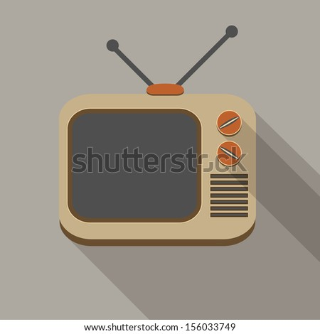 Flat long shadow tv set icon on gray - stock photo