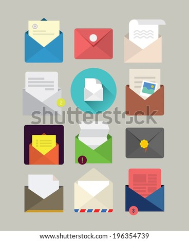 Flat mail icons - stock photo