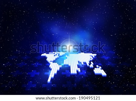 Flat map of the world at night - stock photo