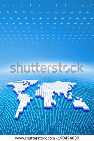 Flat map of the world atop circuitry - stock photo