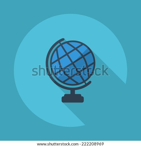 Flat modern design with shadow icons for web design and mobile applications, SEO. search Engine Optimization: globe - stock photo
