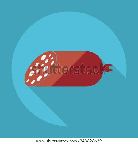 Flat modern design with shadow meat products - stock photo