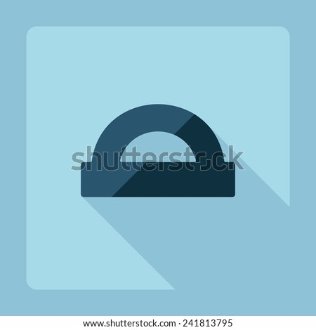 Flat modern design with shadow protractor - stock photo