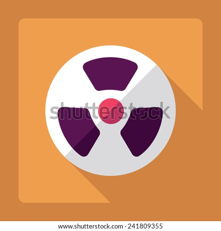 Flat modern design with shadow radiation symbol - stock photo