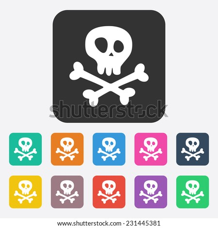 Flat modern design with shadow, SEO. Icons mobile applications and web design. Working optimization:  skull and crossbones - stock photo