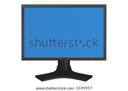 Flat panel computer display isolated over a white background. - stock photo