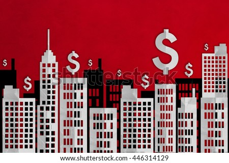 flat paper cut style downtown building city with floating dollar symbols on red background - stock photo